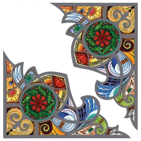 Fensterpanel Ecken Buntglasdekor Fantasy Ornament