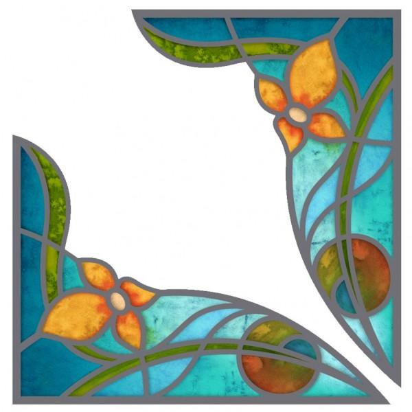 Fensterpanel Fensterdekor Ecken Buntglasfenster