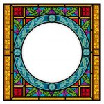 Buntglasdekor, Kirchenfenster, Buntglas, Bildmotiv, Rahmen, Rahmendekor