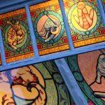 Buntglasdekor, Kirchenfenster, Buntglas, Bildmotiv, Katze, cat, catism