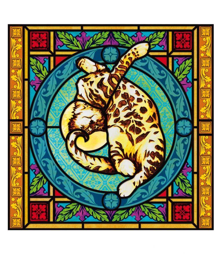 Bleiglasfenster catism, Buntglasdekor, Kirchenfenster, Buntglas, Bildmotiv, Katze, cat, catism
